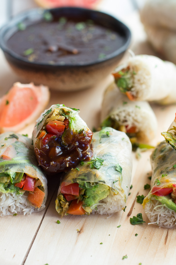 Brussels Sprout and Avocado Winter Rolls with Grapefruit Hoisin Dipping Sauce