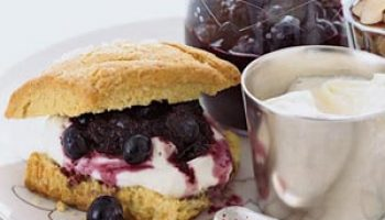 Blueberry Almond Shortcake with Crème Fraiche