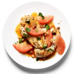grapefruit with chickenChicken with grapefruit pan sauce