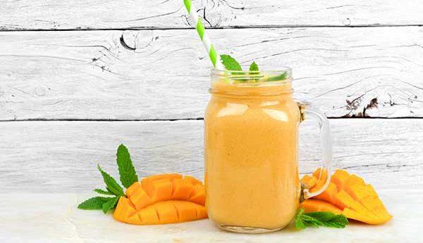 orange mango smoothie featuring uncle matt's organic
