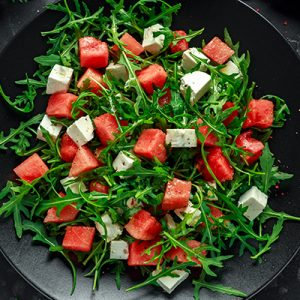 organic watermelon feta and arugula salad