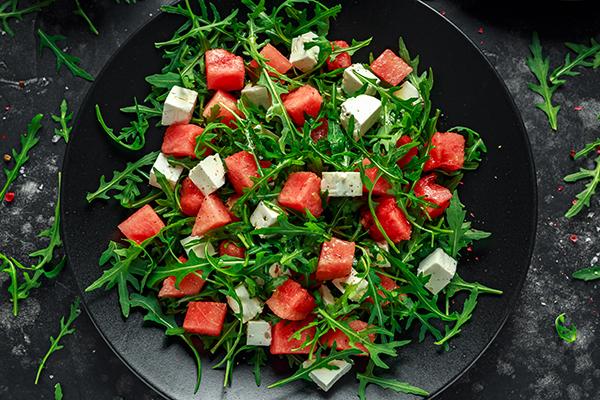 organic watermelon feta and arugula salad