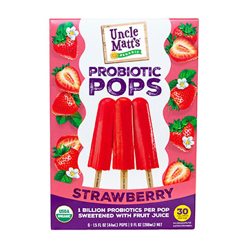 Uncle Matt's Strawberry Probiotic Popsicles