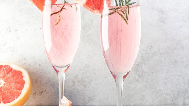 Grapefruit Mimosa with Rosemary