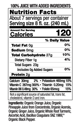 52 oz Ultimate Defense Nutrition Facts