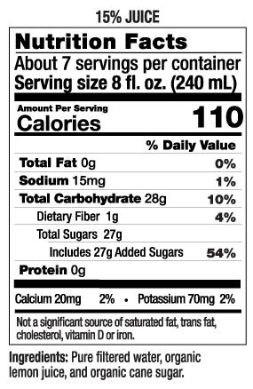 52 oz Lemonade Nutrition Facts