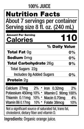 52 oz Pulp Free Nutrition Facts