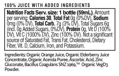 Ultimate Immune Shot Nutrition Facts