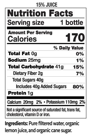 12 oz Organic Lemonade Nutrition Facts