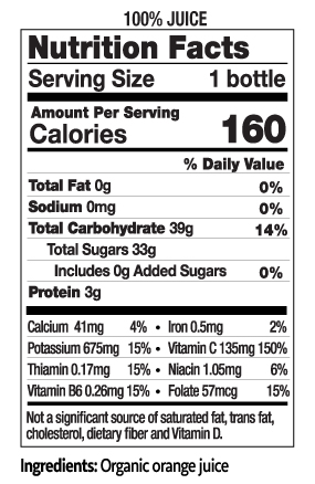 12 oz Organic Pulp Free Orange Juice Nutrition Facts