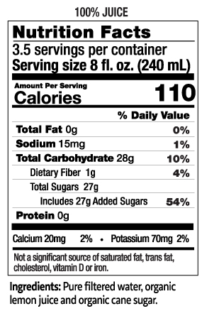 28 oz Lemonade Nutrition Facts