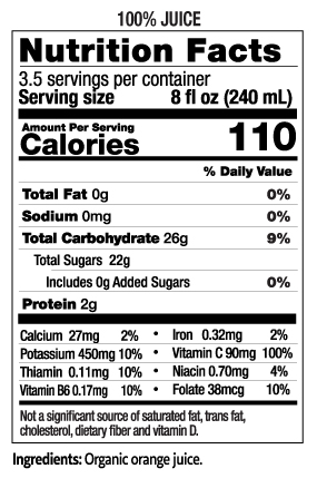 28 oz Organic Orange Juice Nutrition Facts