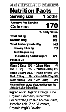 12 oz Ultimate Immune Nutrition Facts